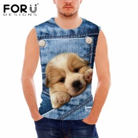 FORUDESIGNS Brand Clothes Mens Tank Top Animal Dog Cat Print Sleeveless T Shirt For Male 3D