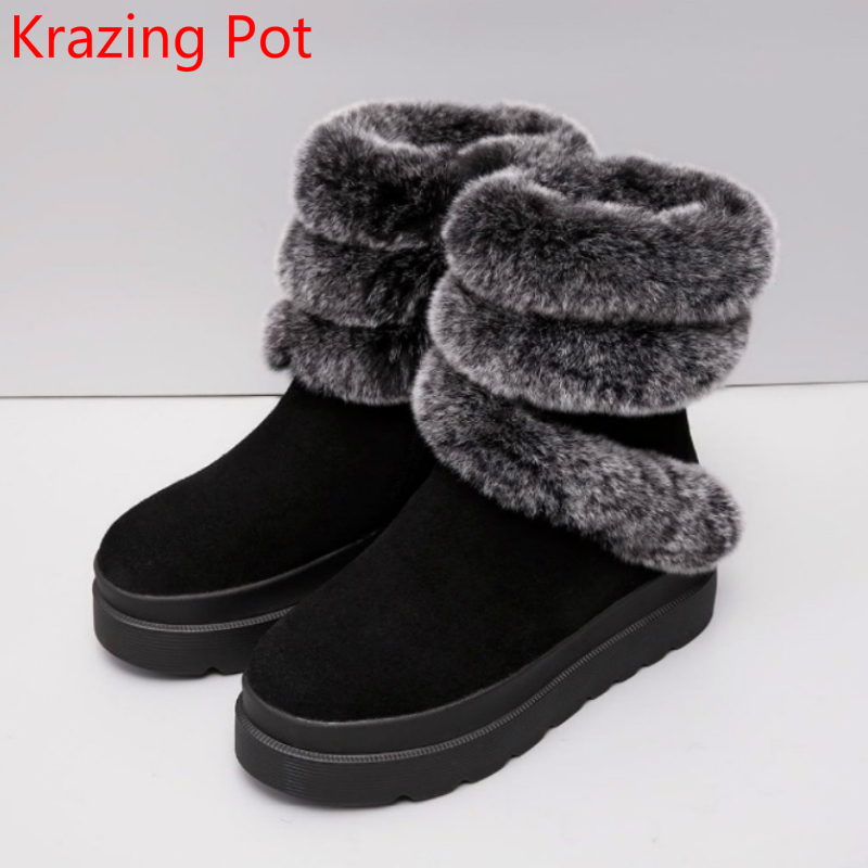 2018 Fashion Brand Winter Shoes Solid Flat with Rabbit Fur Platform Black Keep Warm Snow Boots Slip on Women Mid-Calf Boots L91 2017 fashion winter flat fur shoes women rabbit fur tide lazy shoes slip on casual plus velvet loafer shoes autumn new arrival