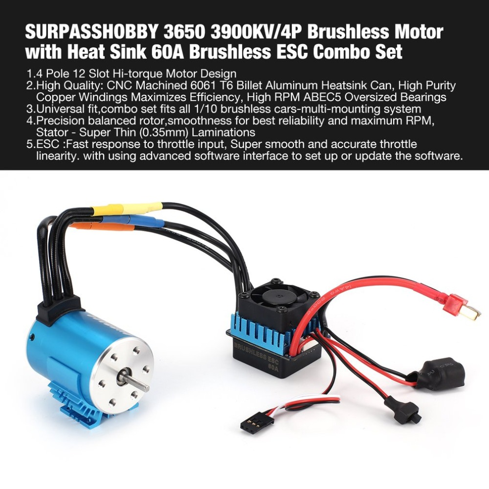 SURPASSHOBBY 3650 3900KV/4P Brushless Motor with Heat Sink 60A Brushless ESC Combo Set for 1/10 RC Car Spar Parts Accessories цены