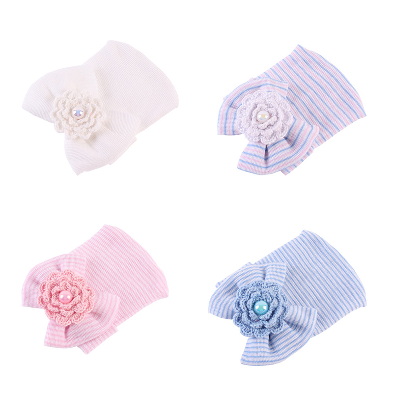 Cotton Striped Newborn Baby Hat Knitting Flower Infant Caps Girls Boys Bow Beanies Lace Bow Baby Hat Newborn Baby Girls Clothing