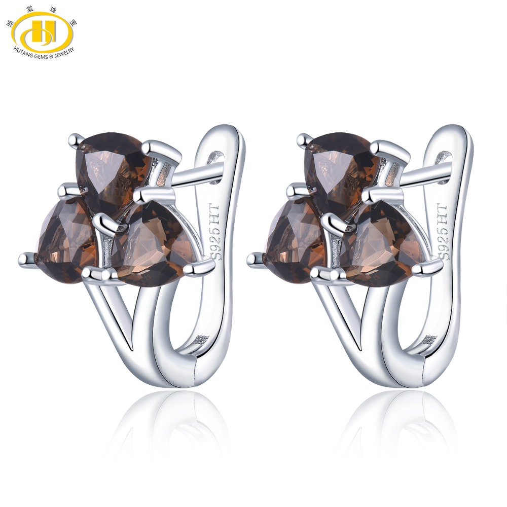 Hutang Trangle 5mm Natural Smoky Quartz Hoop Earrings 925 Sterling Silver Fine Gemstone Jewelry for Women Best Gift New 3 StoneHutang Trangle 5mm Natural Smoky Quartz Hoop Earrings 925 Sterling Silver Fine Gemstone Jewelry for Women Best Gift New 3 Stone