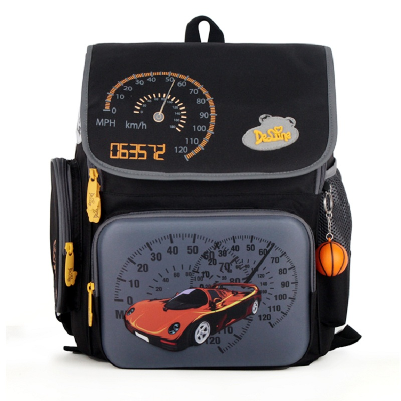 Delune brand High quality 3D cars children school bag free doll boy kids students creative travel backpack child Christmas gift