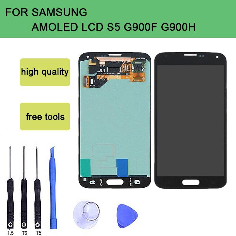 SzHAIyu Getest OLED AMOLED Lcd scherm + Touch Screen Voor Samsung Galaxy S5 G900 G900F G900H LCD Display-in LCD's voor mobiele telefoons van Mobiele telefoons & telecommunicatie op AliExpress - 11.11_Dubbel 11Vrijgezellendag 1