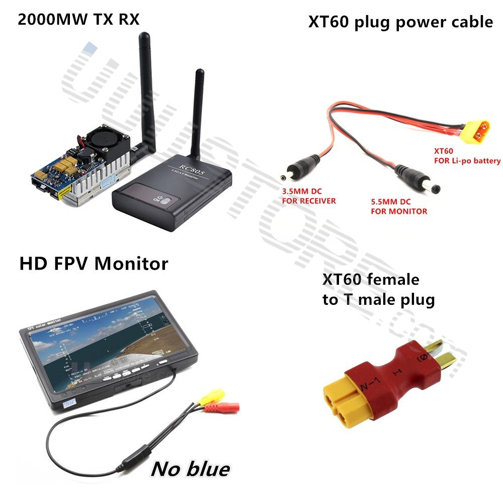 15KM FPV Combo System 5.8Ghz 2000mw Transmitter No blue screen Monitor for xiao yi gopro sj4000 fpv CX20 Quadcopter walkera new boscam fpv 5 8g 5 8ghz 2000mw 2w 32 channels wireless av transmitter automatic signal serch tx58 2w for fpv support fatshark