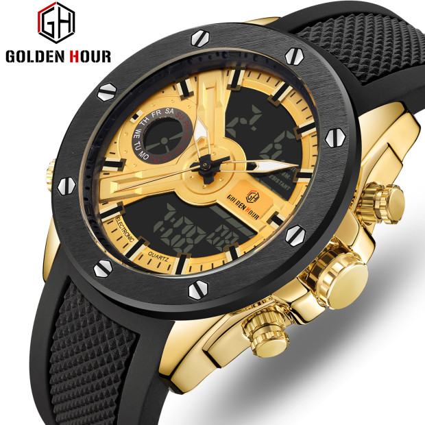 GOLDENHOUR 2019 New Luxury Brand Men waterproof Sport Watch Men Quartz Alarm LCD Analog Digital Watch Male Rubber Strap Clock(China)