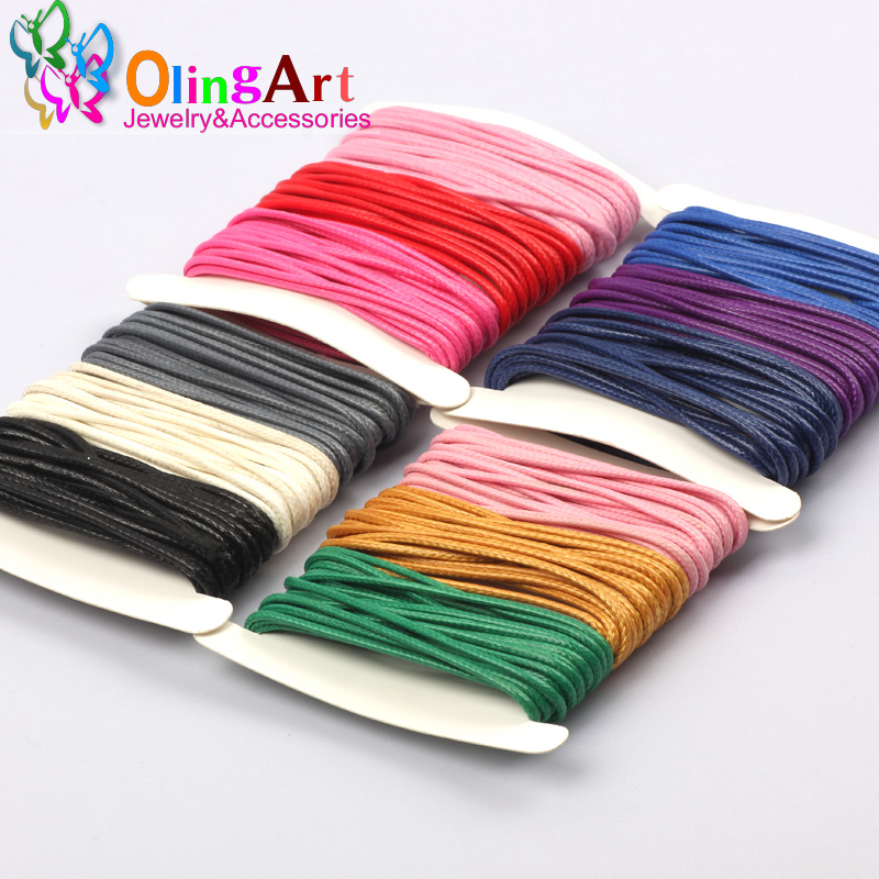 OlingArt Hot Sales 9M/Card 3 Colors Mixed Waxed Cotton Beading Cord Thread Line 1.5mm Jewelry Cord Jewelry Making 2019 New
