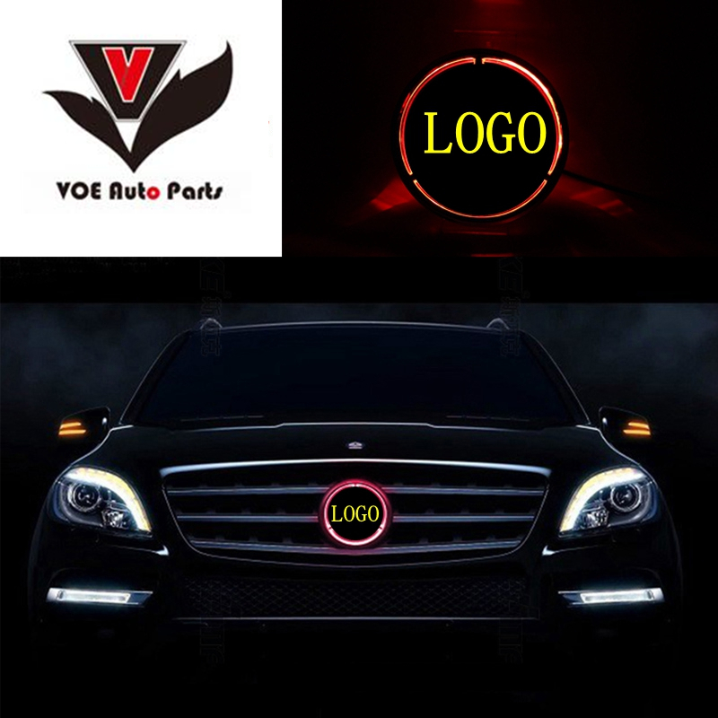 W204 Illuminated Star Car Front Grill Grille LED Light Logo Badge for 2008-2013 Mercedes-Benz W204 C-class akd car styling for mercedes benz c class w204 led star light drl front grille led logo hollow emblem daytime running light
