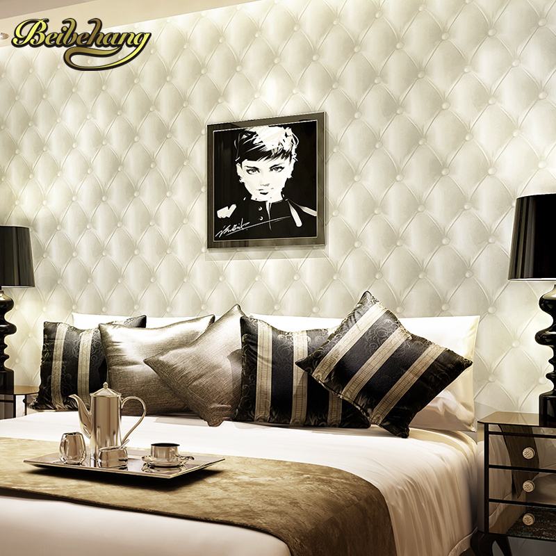 beibehang Pune lifelike three-dimensional white soft bag full of shops wallpaper modern minimalist living room bedroom bedside beibehang wall paper pune solid non woven classic grid pattern wallpaper backdrop living room bedroom den full of shops