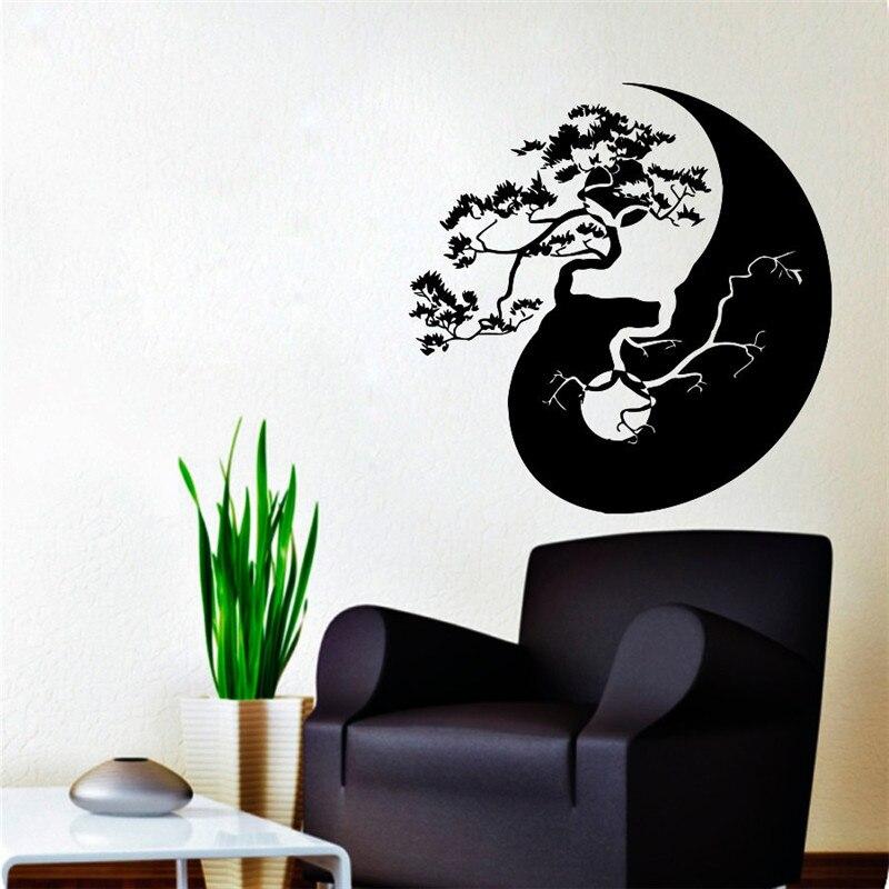Baum Bonsai Yin Yang Muster Art Entwickelt Wandaufkleber Home