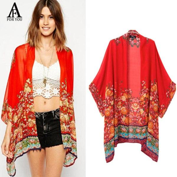 Summer Style 2016 fashion Women Kimonos Vintage Flower Print Red ...