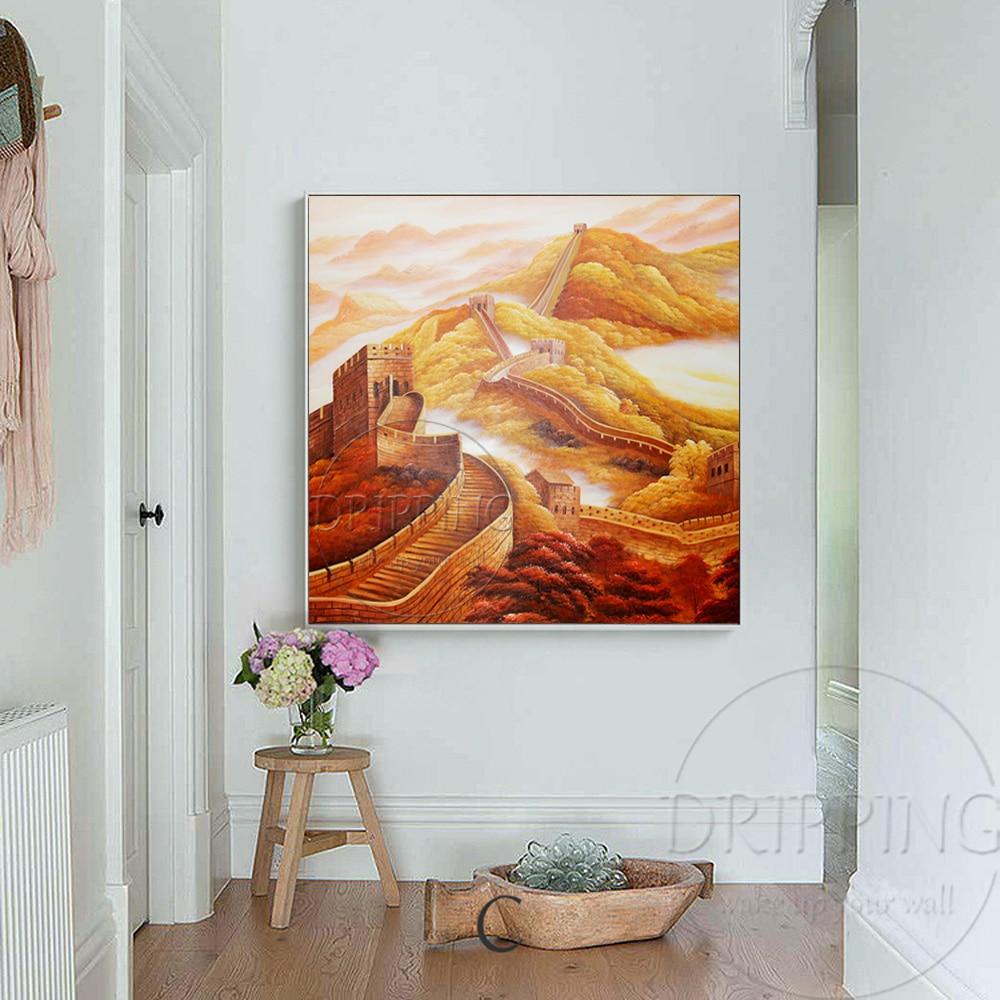 China Kunstenaar handgeschilderde Hoge Kwaliteit Speciale Landschap Grote Muur Olieverf Chinese Landschap Grote Muur Olieverf - 4