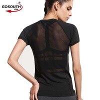Women Black Short Sleeve Elastic Yoga Mesh Sports T Shirt Fitness Women S Casual Gym Running