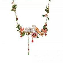 Amybaby 2017 France Paris Winter Garden Fashion Snowy Owls Hibiscus Womens Luxury Tassels Necklace Enamel Glaze jewelry
