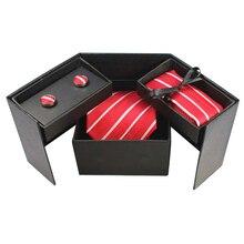 Gusleson 38 стилей галстук набор Hanky запонки с подарочной коробкой жаккардовые галстуки с узором набор для мужчин Свадебная вечеринка много аксессуаров