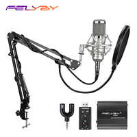 FELYBY BM 800 Condenser microphone for computer voice chat Professional recording studio 48V Phantom power USB sound card Filter