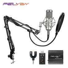 FELYBY BM 800 micrófono condensador para ordenador, chat de voz, estudio de grabación profesional, fuente de alimentación USB, filtro de tarjeta de sonido