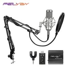 Felyby bm 800 コンデンサーマイクコンピュータ音声チャットプロフェッショナルレコーディングスタジオ 48 48v ファンタム電源 usb サウンドカードフィルター