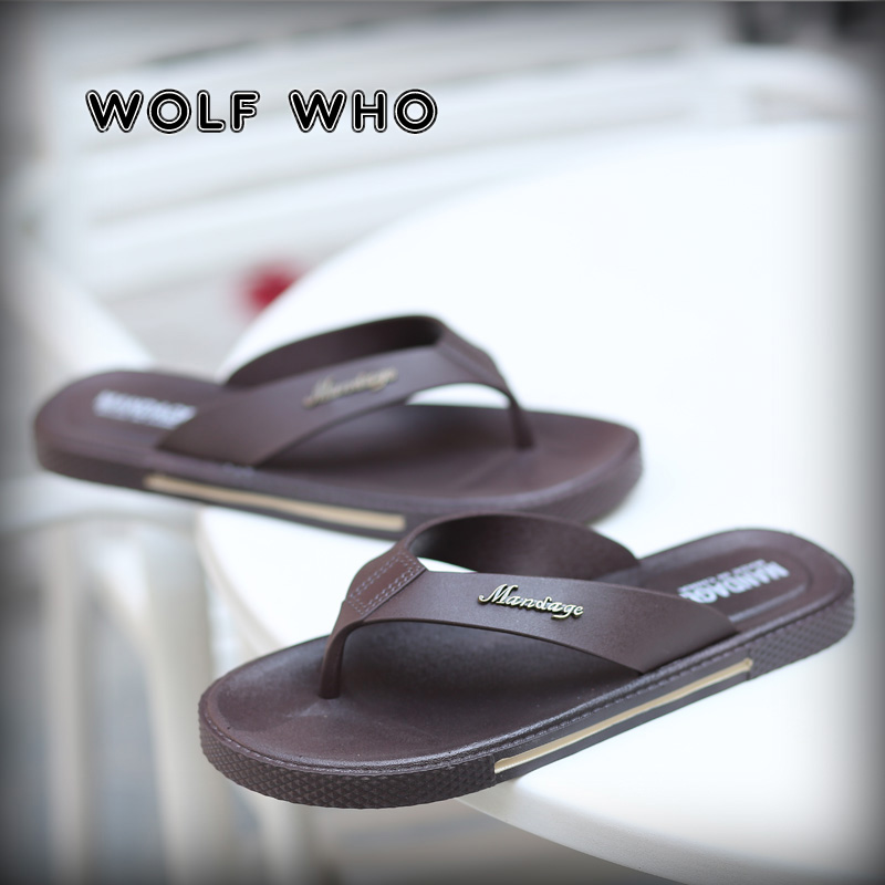 0f7e1f94698f9 WOLF WHO 2018 Brand Summer Men slippers Male Leather Flip Flops Male Vintage  Casual Beach Sandals