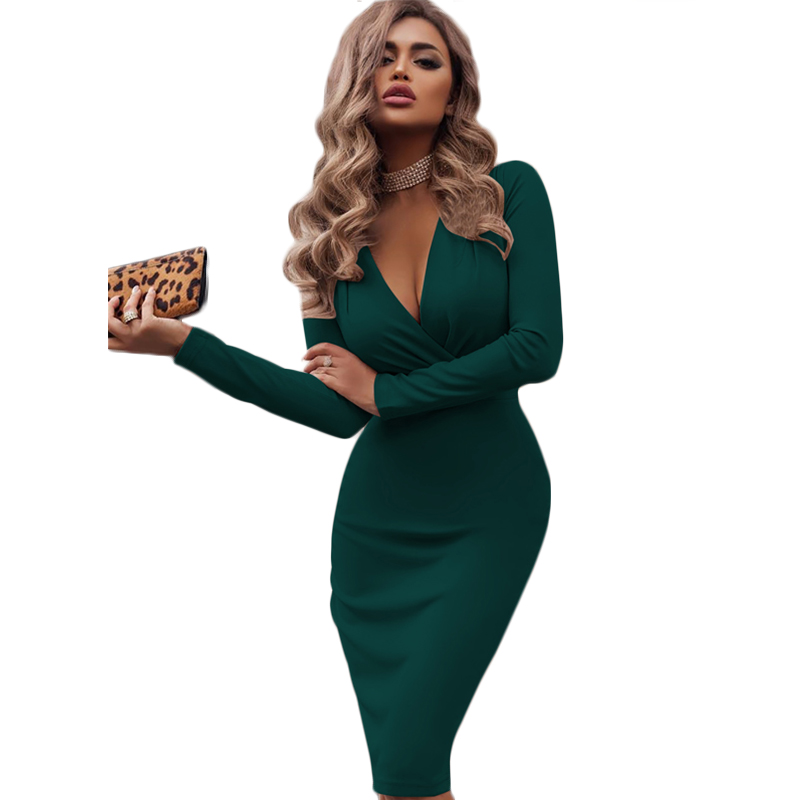 Autumn Attractive Gown Ladies Empire V Neck Sheath Lengthy Sleeve Knee Size Bodycon Attire Plus Dimension Girl Social gathering Vestidos Mujer 2018