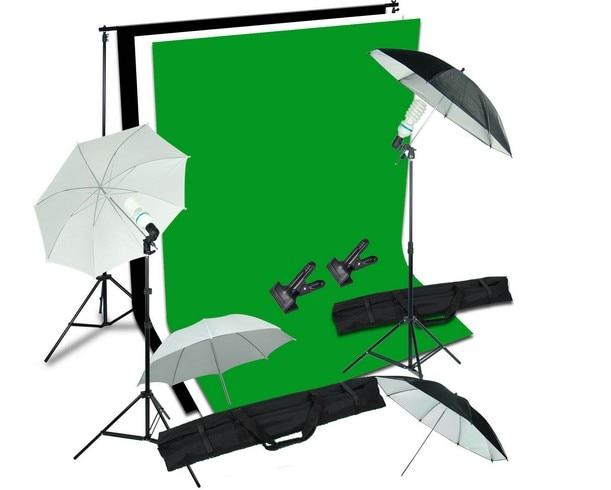Photo Studio Black White Green Background Stand Umbrella Backdrop Lighting Kit