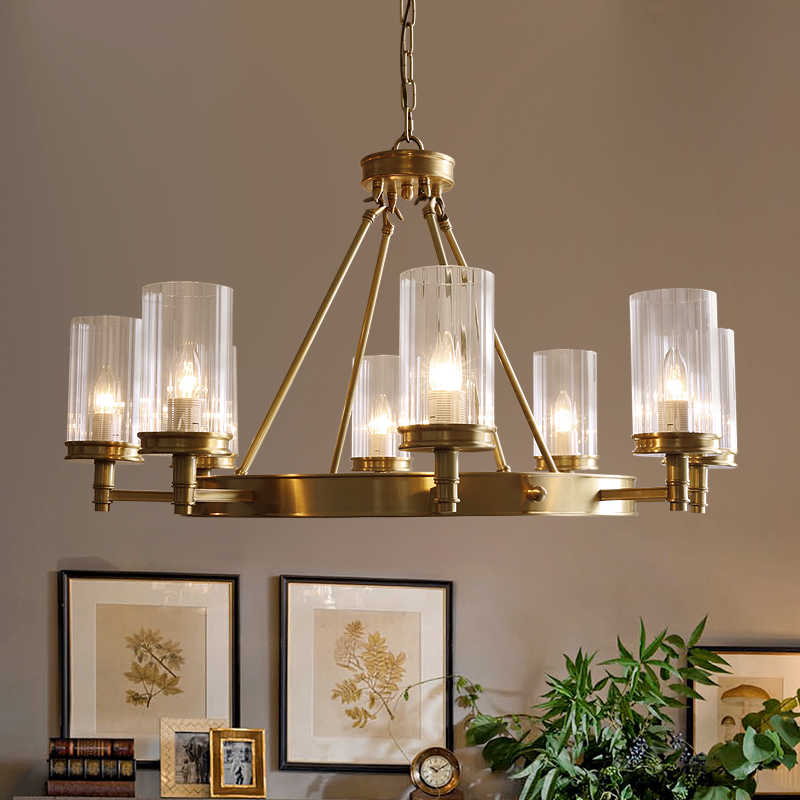 Modern Copper Chandelier 8 10 Head E14 Glass AC LED lamp For kitchen Dining Living room Decoration Chandelier Home Lighting F134