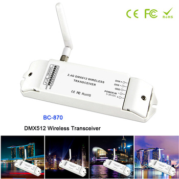 BC-870 DC 5V-36V DMX512 Wireless Transceiver Multi-usage DMX signal transmitter set as a receiver or emitter controller 2 4g wireless dmx512 transceiver and receiver easy to use embedded inside the light