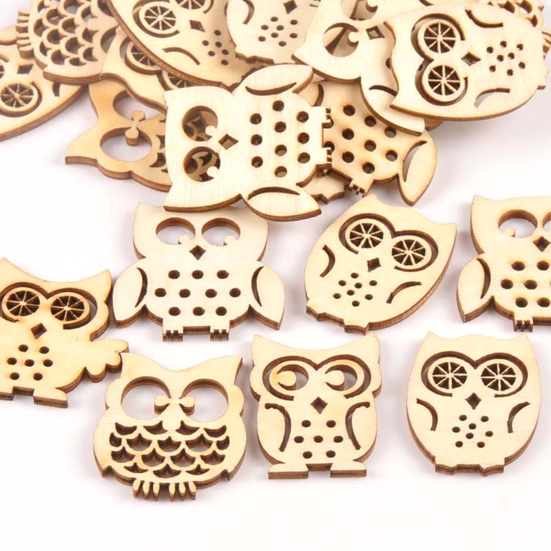 Mix Natrual Owl Shape Wooden Ornament DIY Crafts Home Decoration Scrapbooking Wood Slices Handmade Accessories 15Pcs M1544