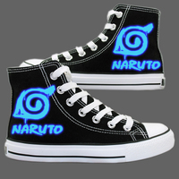 Anime Naruto Luminous Canvas Shoes Sharingan Akatsuki Printing Shoes Naruto Cosplay Shoes