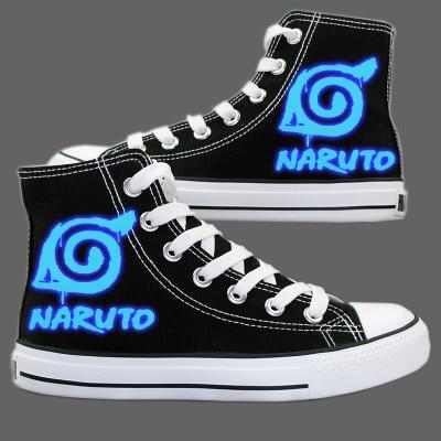 Anime font b Naruto b font Luminous Canvas Shoes Sharingan Akatsuki Printing Shoes font b Naruto