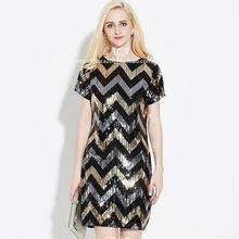 Женское мини платье с блестками летнее эластичное коротким рукавом