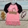 Primavera meninas do bebê novo design de algodão coral born to wear coroas vestidos tassel mangas compridas combinando com arco e colar conjunto