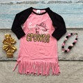 spring baby girls new design cotton coral born to wear crowns dresses tassel long sleeves with matching bow and necklace set