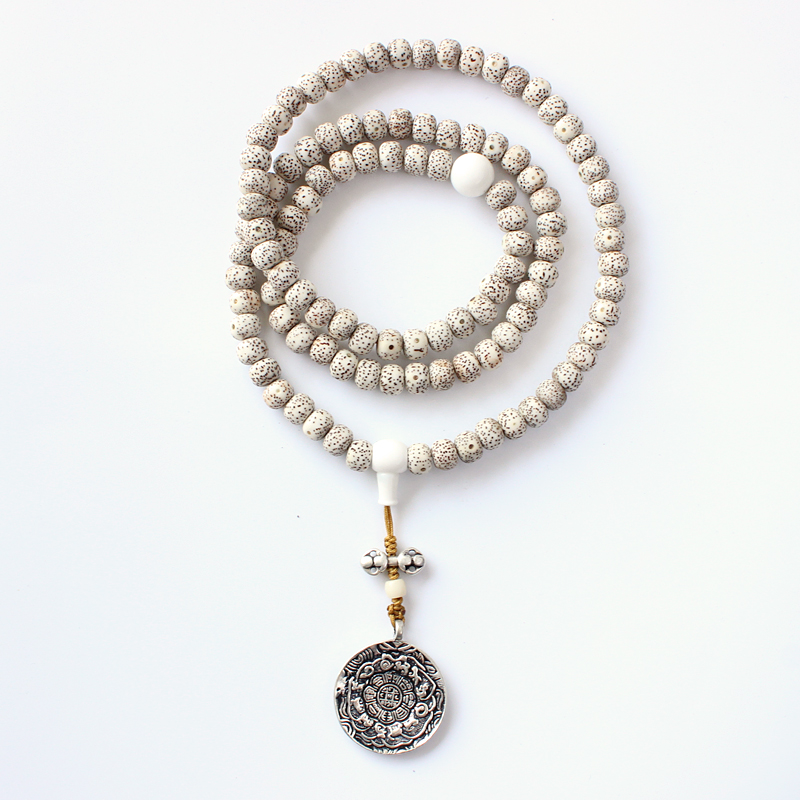 Tibetan Buddhism 108Mala Xingyue Bodhi Seed Beads Necklace With Antique Eight Trigrams Pendant Bagua Mirror Amulet