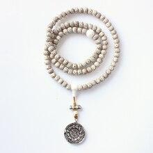 El Budismo tibetano 108 Mala Semilla Xingyue Bodhi Cuentas de Collar Con Antiguos Ocho Trigramas Joyería Colgante Espejo Bagua Amuleto OM