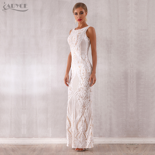 Adyce 2019 New Arrival Luxury Sequined Maxi Celebrity Evening Runway Party Dress Vestidos Sexy Sleeveless White Tank Club Dress 2