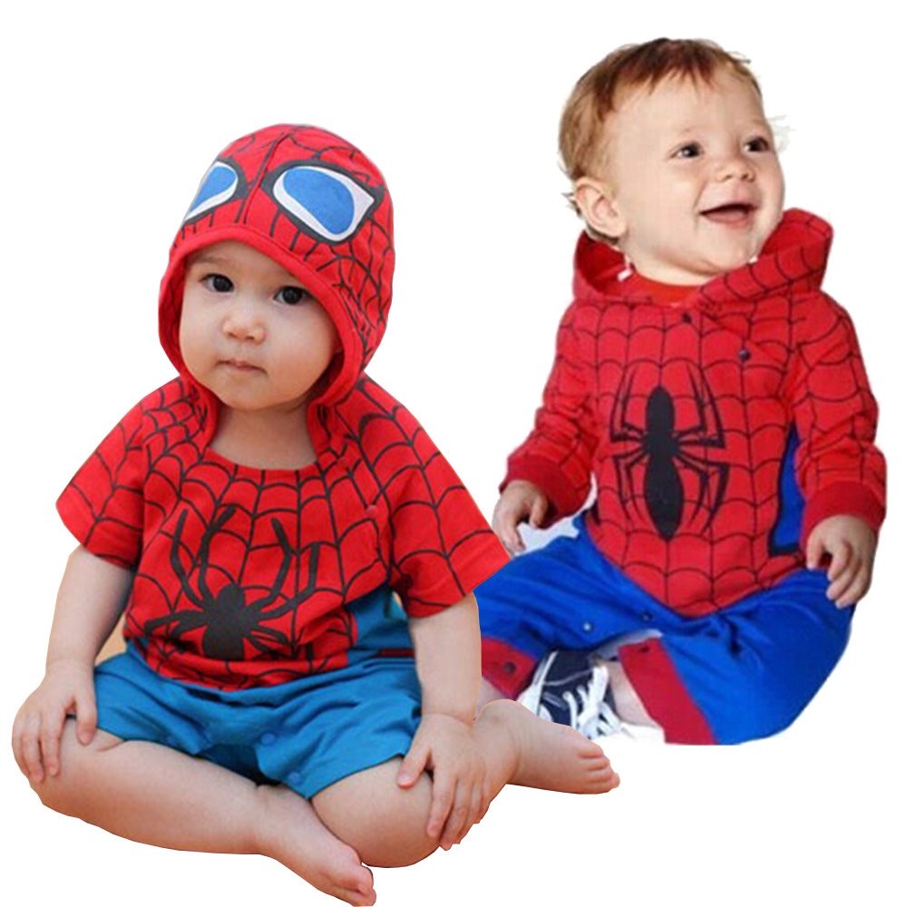 2017 new baby boy romper bebe cartoon spiderman jumpsuit full sleeve hoodies romper baby costume roupas