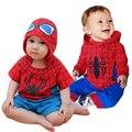 2017 novo romper do bebê menino bebe macacão dos desenhos animados do homem aranha hoodies plena manga romper traje do bebê roupas meninos
