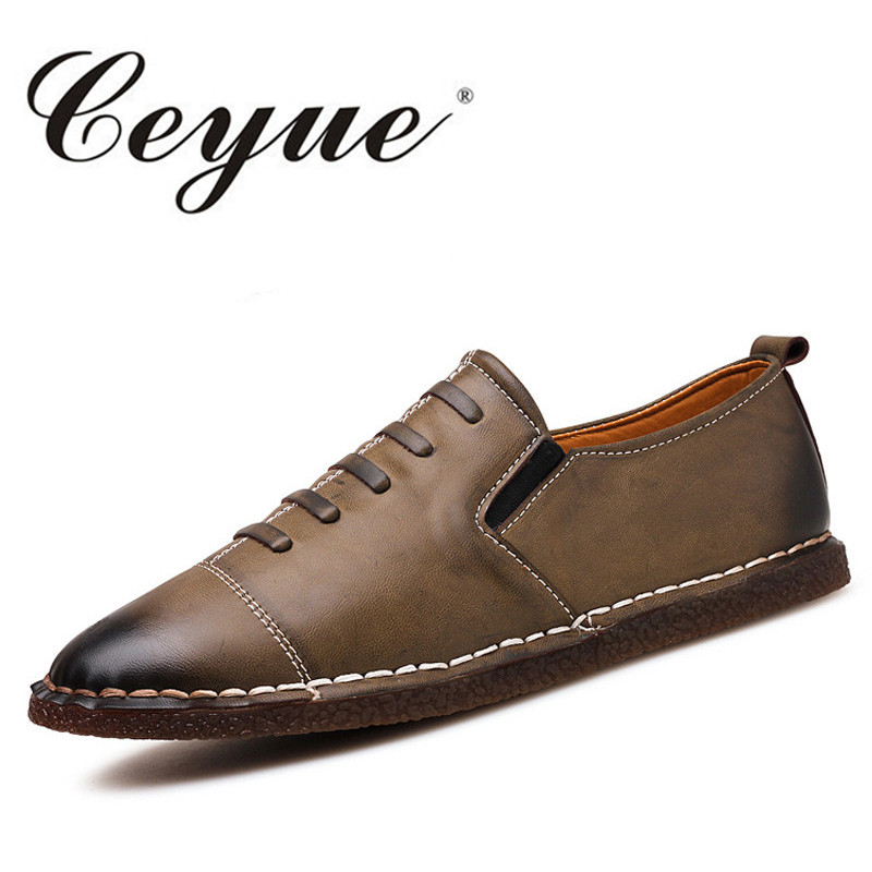 Ceyue Men Flat Causal Shoes British Slip-On Shoe Soft Leather Men Breathable Driving Shoes Male High Quality Zapatillas Hombre ceyue brand men casual shoes high quality men s soft leather slip on loafers male fashion driving shoes boat shoe mens moccasin
