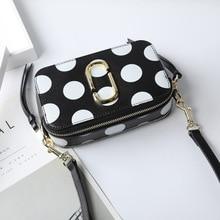 купить Women handbag 2019 new fashion wide shoulder strap camera bag female 100% leather shoulder slung small square bag hit color bag по цене 3233.81 рублей