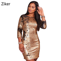 Autumn Sexy Women Sequins Dresses New Fashion Holiday Party Backless Bodycon Mini Dress Three Quarter Sleeve