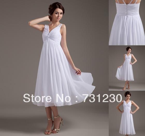36ab5b874076 Modern Plus Size tea length wedding dresses v neck sleeveless short wedding  dresses 201212278154