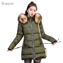 Brieuces 2018 New Fashion Women Winter Jacket With Fur collar Warm Hooded Female Womens Coat Long Parkas Outwear