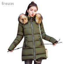 купить Brieuces 2018 New Fashion Women Winter Jacket With Fur collar Warm Hooded Female Womens Winter Coat Long Parkas Outwear по цене 1737.7 рублей