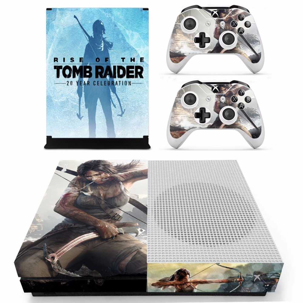 Rise of The Tomb Raider Skin Sticker Decal For Microsoft Xbox One S Console and 2 Controllers For Xbox One S Skin Sticker Vinyl
