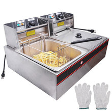 12L Commercial  Stainless steel Countertop Electric Open Potato chips french fries Fryer Dual 2 Tank