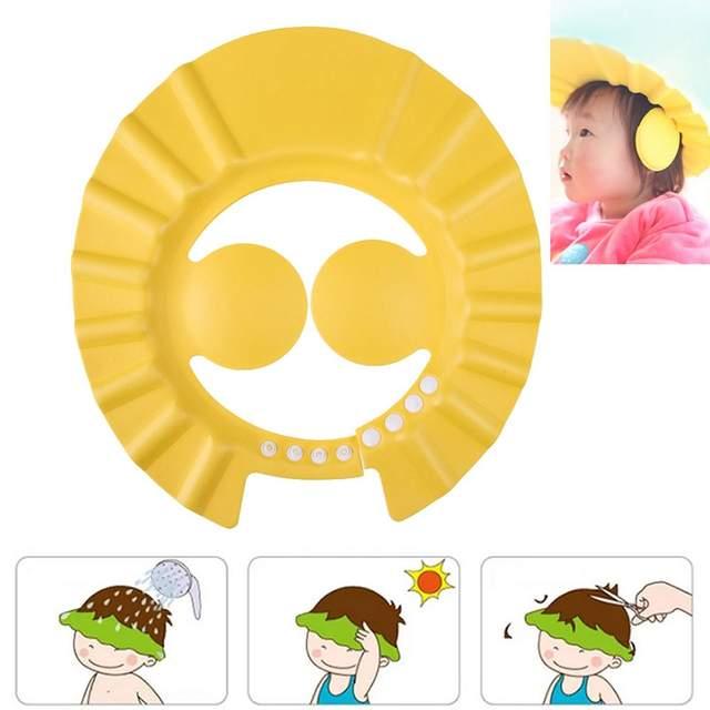 3ab01a05f26 Safe Baby Shower Cap Kids Bath Visor Hat Adjustable Baby Shower Cap Protect  Eyes Hair Wash