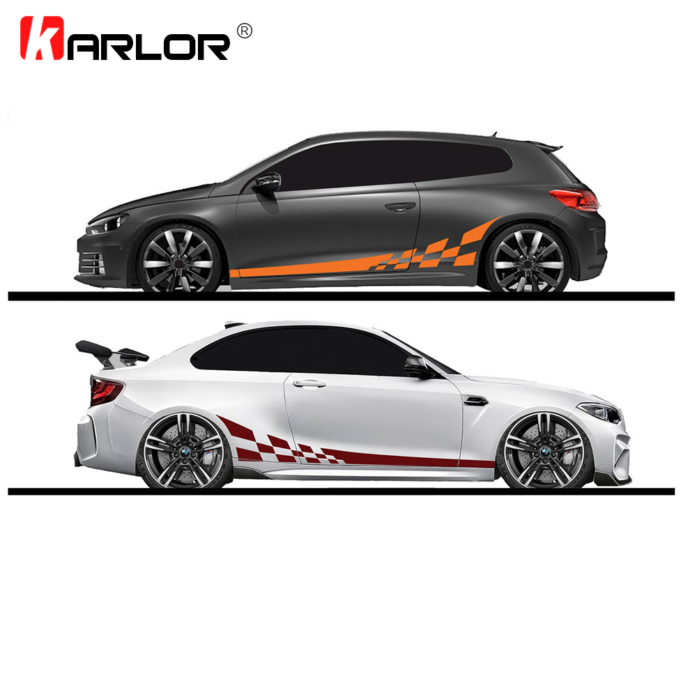 2pcs/lot 220x25cm Car DIY Both Sides Stickers Race Stripes Camouflage Automobiles Products Car Wrap Vinyl Film Car Accessories