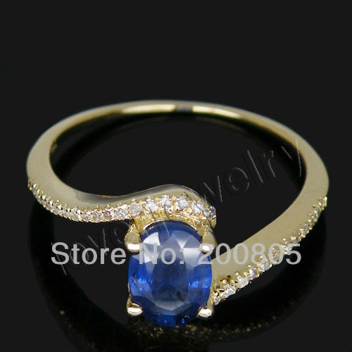 Vintage Oval 5x7mm 14Kt Yellow Gold Natural Diamond Sapphire Ring SR00119A
