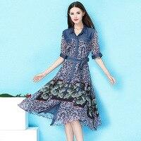 Вечерние платья однобортная джинсовая ткань, Tencel сшивание шелковое платье с принтом с высокой талией тонкое ТРАПЕЦИЕВИДНОЕ шелковое плать