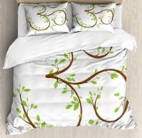 Yoga Duvet Cover Set, Mystical Symbol with Twigs Full of Green Leaves and a Pink Blossom Spiritual Floral 4 Piece Bedding Set